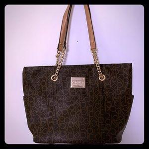 NWOT Calvin Klein handbag brown tan gold chain